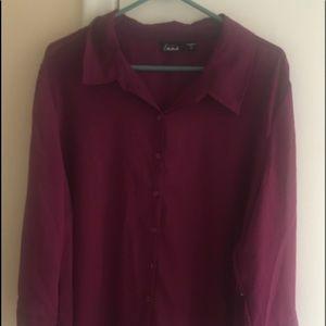 Simply Emma blouse sheer Plum Blouse Shirt 2x NWT